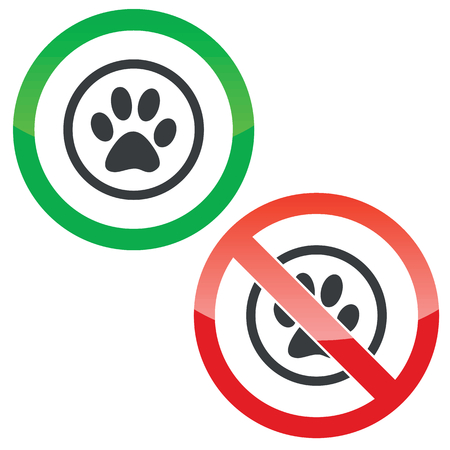 track pad: Allowed and forbidden signs with animal paw print in circle, isolated on white Illustration