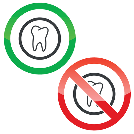 dens: Allowed and forbidden signs with tooth in circle, isolated on white