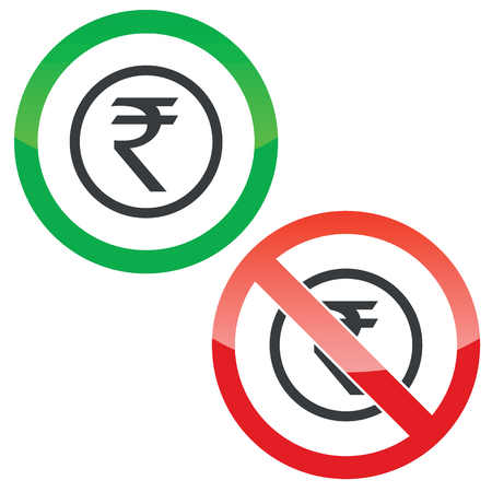 rupee: Allowed and forbidden signs with indian rupee symbol in circle, isolated on white