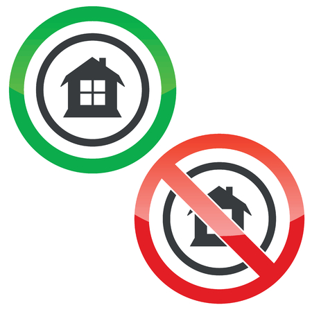 housetop: Allowed and forbidden signs with house with window in circle, isolated on white