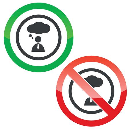denkender mensch: Erlaubt und verboten Schilder mit denkenden Menschen im Kreis, isoliert auf wei�