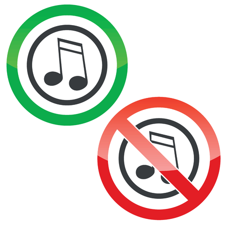 doubled: Allowed and forbidden signs with doubled sixteenth note in circle, isolated on white Illustration