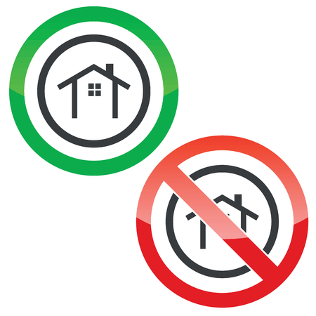 housetop: Allowed and forbidden signs with house contour in circle, isolated on white