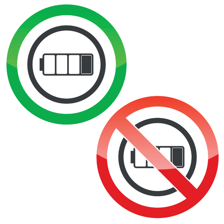 low battery: Allowed and forbidden signs with low battery in circle, isolated on white