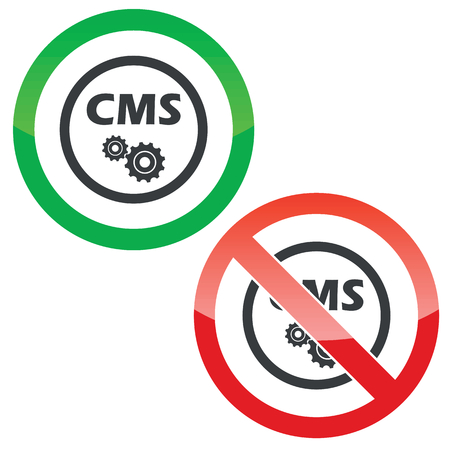 permission: Allowed and forbidden signs with text CMS and gears in circle, isolated on white Illustration