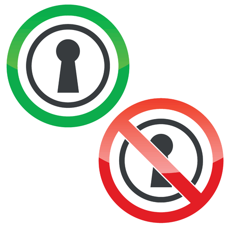 slit: Allowed and forbidden signs with keyhole in circle, isolated on white Illustration