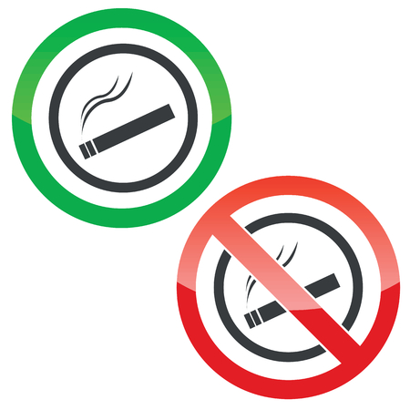 cigar shape: Allowed and forbidden signs with burning cigarette in circle, isolated on white Illustration