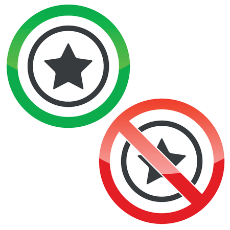 ideogram: Allowed and forbidden signs with star in circle, isolated on white Illustration