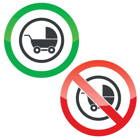 perambulator: Allowed and forbidden signs with perambulator in circle, isolated on white