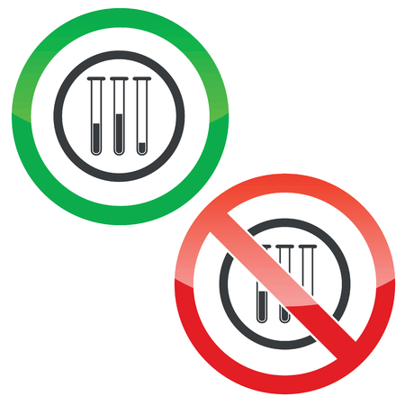 reagents: Allowed and forbidden signs with three test-tubes in circle, isolated on white