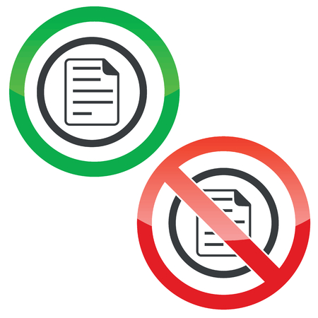 article writing: Allowed and forbidden signs with document page in circle, isolated on white