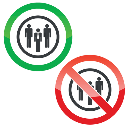 mensen groep: Allowed and forbidden signs with three people group in circle, isolated on white Stock Illustratie