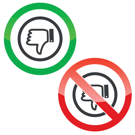 Allowed And Forbidden Signs With Dislike Symbol Isolated On