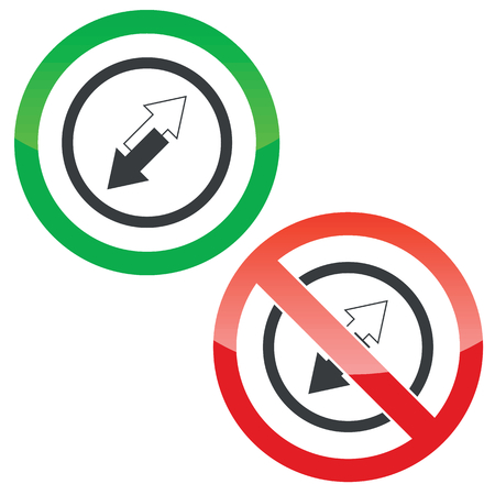 opposite arrows: Allowed and forbidden signs with opposite arrows in circle, isolated on white