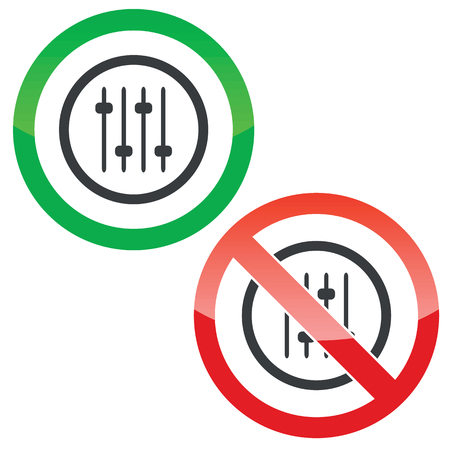 fader: Allowed and forbidden signs with console faders in circle, isolated on white Illustration