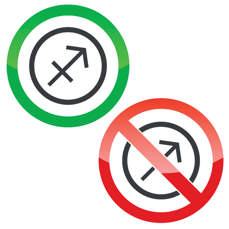 ecliptic: Allowed and forbidden signs with Sagittarius zodiac symbol in circle, isolated on white