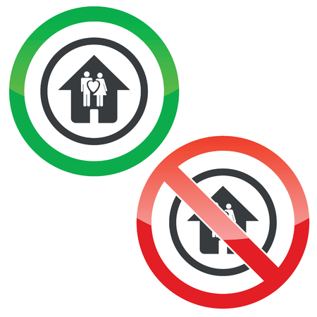 forbidden love: Allowed and forbidden signs with love couple in house in circle, isolated on white