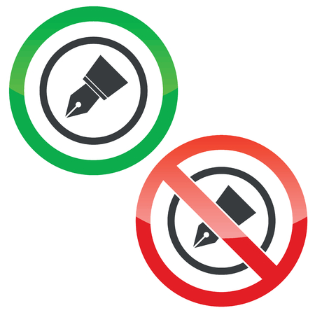 allowed: Allowed and forbidden signs with ink pen nib in circle, isolated on white