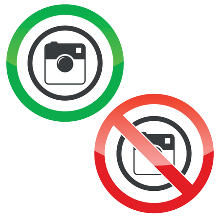 microblog: Allowed and forbidden signs with square camera in circle, isolated on white