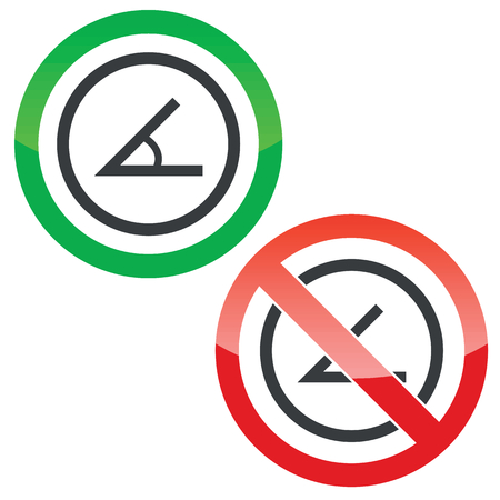 derivation: Allowed and forbidden signs with angle in circle, isolated on white