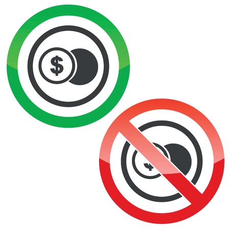 signos de pesos: Permitido y prohibido signos con moneda con el símbolo del dólar en el círculo, aislado en blanco