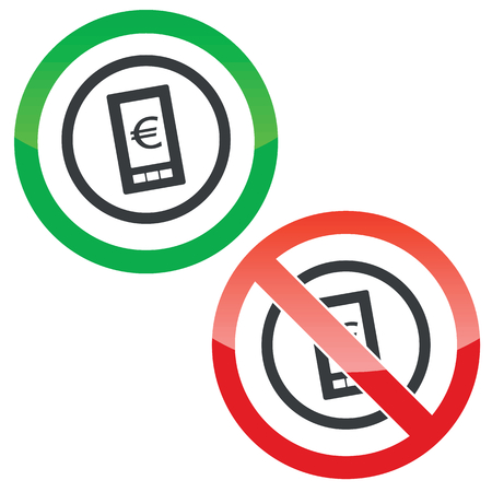 yes or no to euro: Allowed and forbidden signs with euro symbol on smartphone in circle, isolated on white