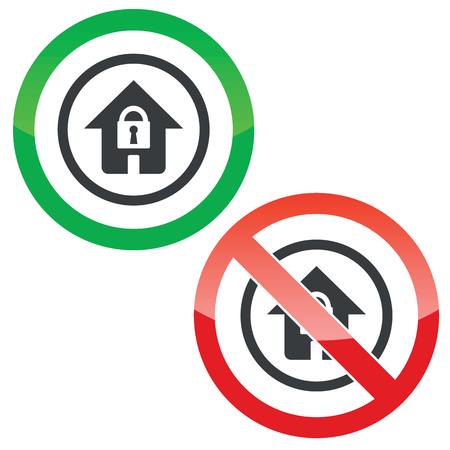 secure site: Allowed and forbidden signs with house with closed padlock in circle, isolated on white Illustration