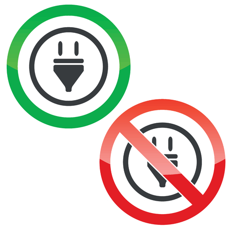 permission: Allowed and forbidden signs with plug in circle, isolated on white Illustration