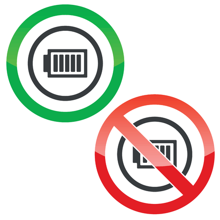 charged: Allowed and forbidden signs with charged battery in circle, isolated on white Illustration