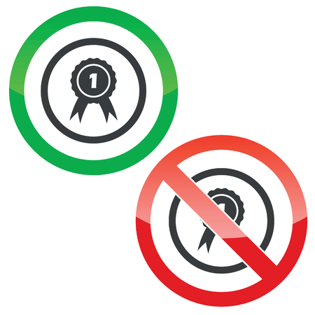 1st place: Allowed and forbidden signs with 1st place award in circle, isolated on white
