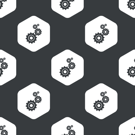 repeated: Image of four gears in hexagon, repeated on black Illustration