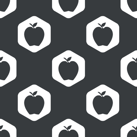 repeated: Image of apple fruit in hexagon, repeated on black