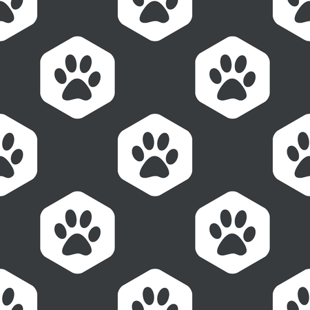 track pad: Image of animal paw print in hexagon, repeated on black