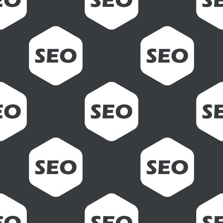 repeated: Black text SEO in white hexagon, repeated on black