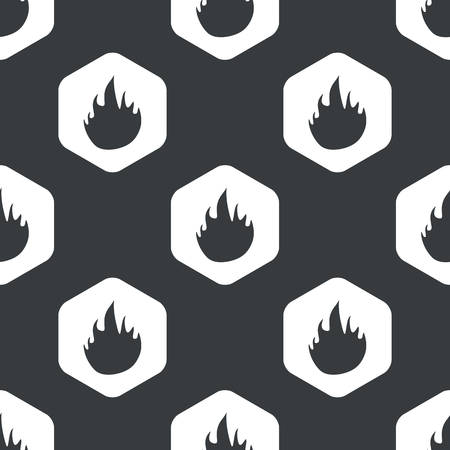 conflagration: Image of flame in hexagon, repeated on black Illustration