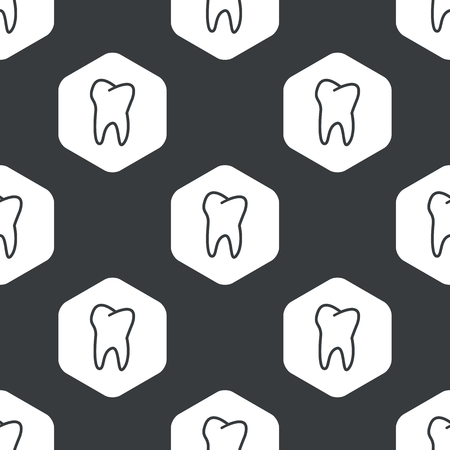 Image of tooth in hexagon, repeated on black