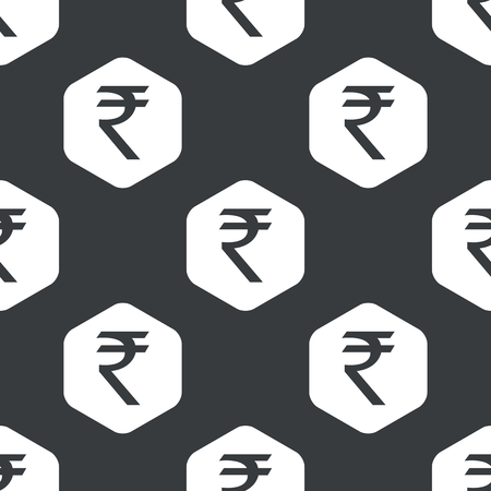 repeated: Image of indian rupee symbol in hexagon, repeated on black Illustration
