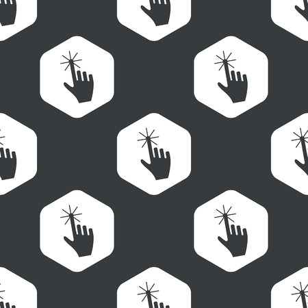 repeated: Image of hand cursor in hexagon, repeated on black Illustration
