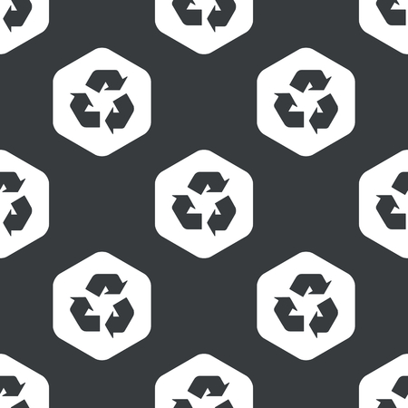 world  hexagon: Image of recycle sign in hexagon, repeated on black Illustration