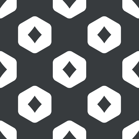 repeated: Image of diamonds card symbol in hexagon, repeated on black Illustration