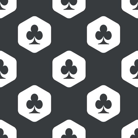 repeated: Image of clubs card symbol in hexagon, repeated on black