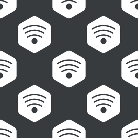 repeated: Image of Wi-Fi symbol in hexagon, repeated on black Illustration