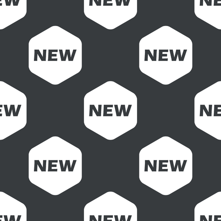 notable: Black text NEW in hexagon, repeated on black