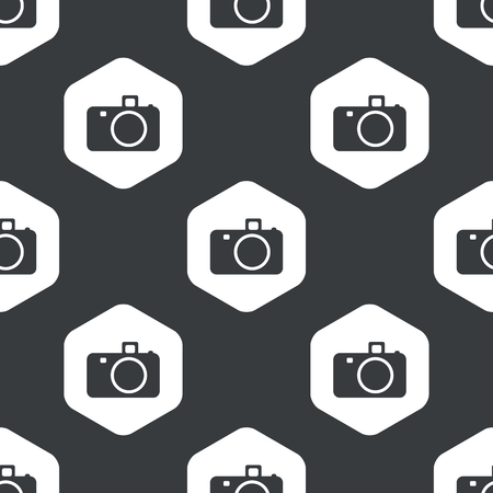 repeated: Image of camera in hexagon, repeated on black Illustration