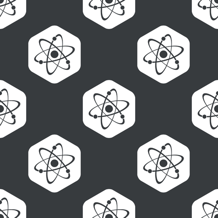 white atom: Image of atom in hexagon, repeated on black Illustration