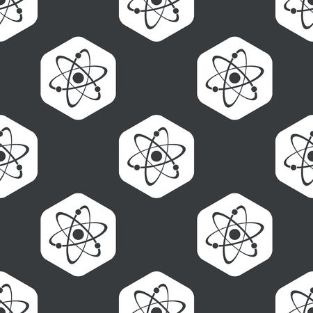 atomo: Imagen de átomo en hexágono, que se repite en negro