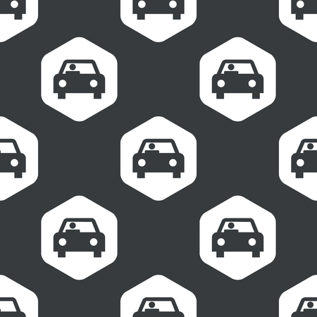 repeated: Image of car with driver in hexagon, repeated on black