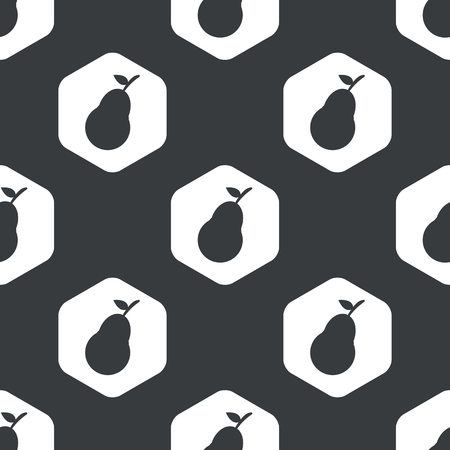 repeated: Image of pear fruit in hexagon, repeated on black Illustration