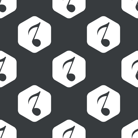repeated: Image of eighth note in hexagon, repeated on black Illustration