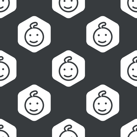 website background: Image of smiling child in hexagon, repeated on black